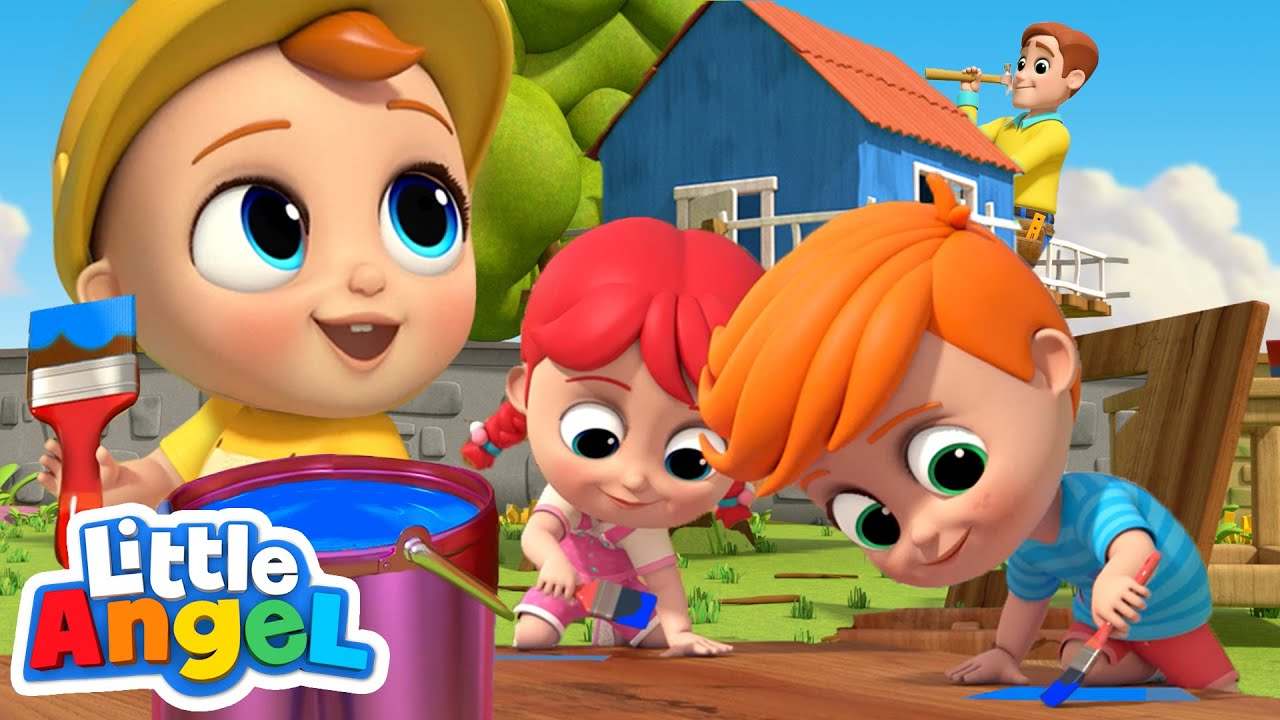 We Help Daddy Build A Treehouse   Little Angel Nursery Rhymes and Kids Songs