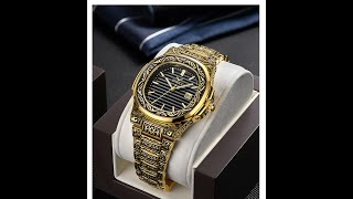 Carved Bracelet Steel Quartz Watch for Men's Vintage Classic Style
