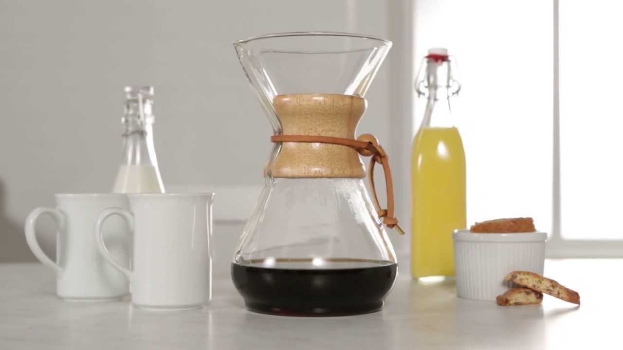 Manual Drip Coffee Maker Chemex : Chemex Classic Series Drip Coffee Eight-Cup Glass Coffeemaker - YouTube