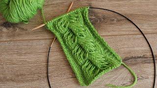Коса с вытянутыми петлями спицами | Knitted braid Cable