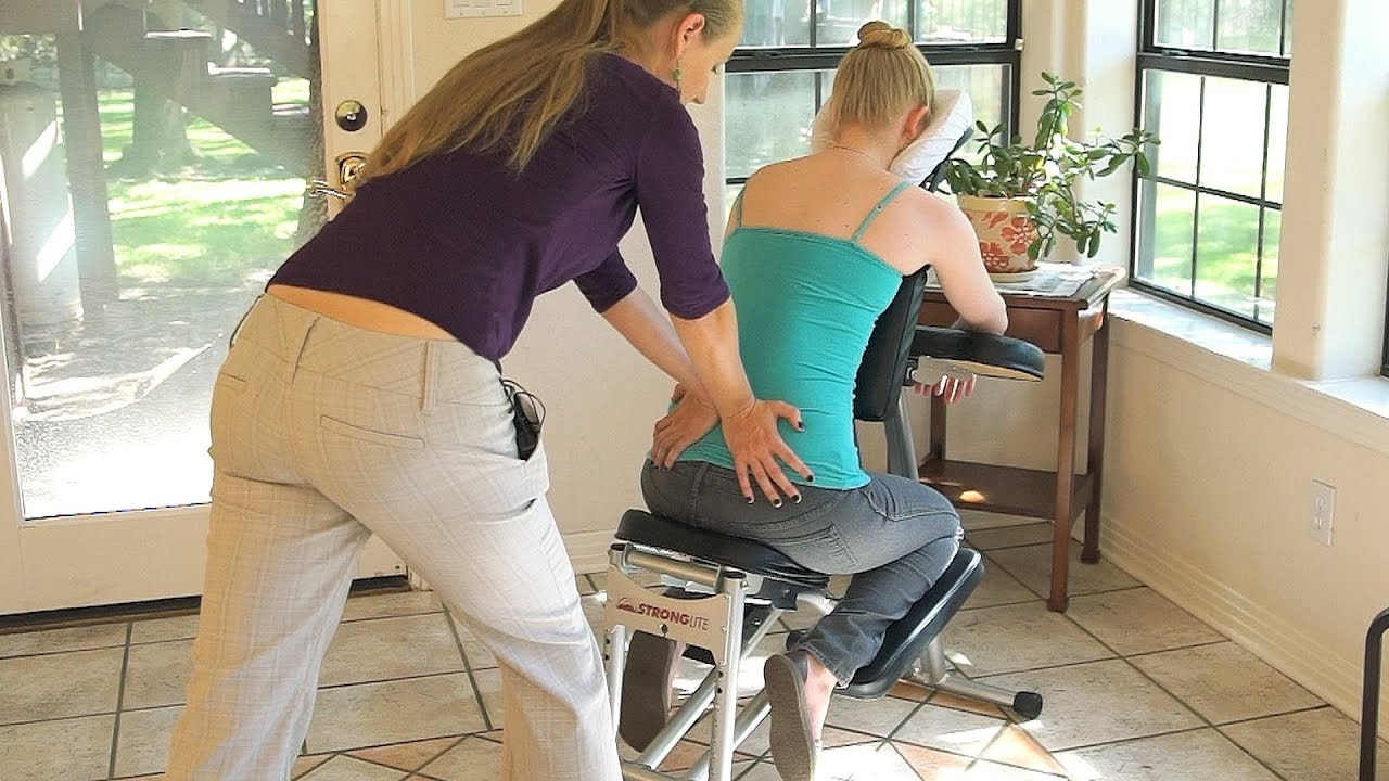 Chair massage therapy - Chair Back Massage Techniques Mid Lower Back Hips Relaxing Body Work How To Youtube