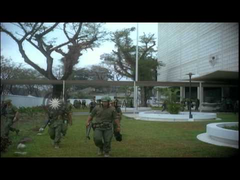 Attack against American Embassy Compound during Tet Offensive in Viet Nam War. Ge...HD Stock Footage