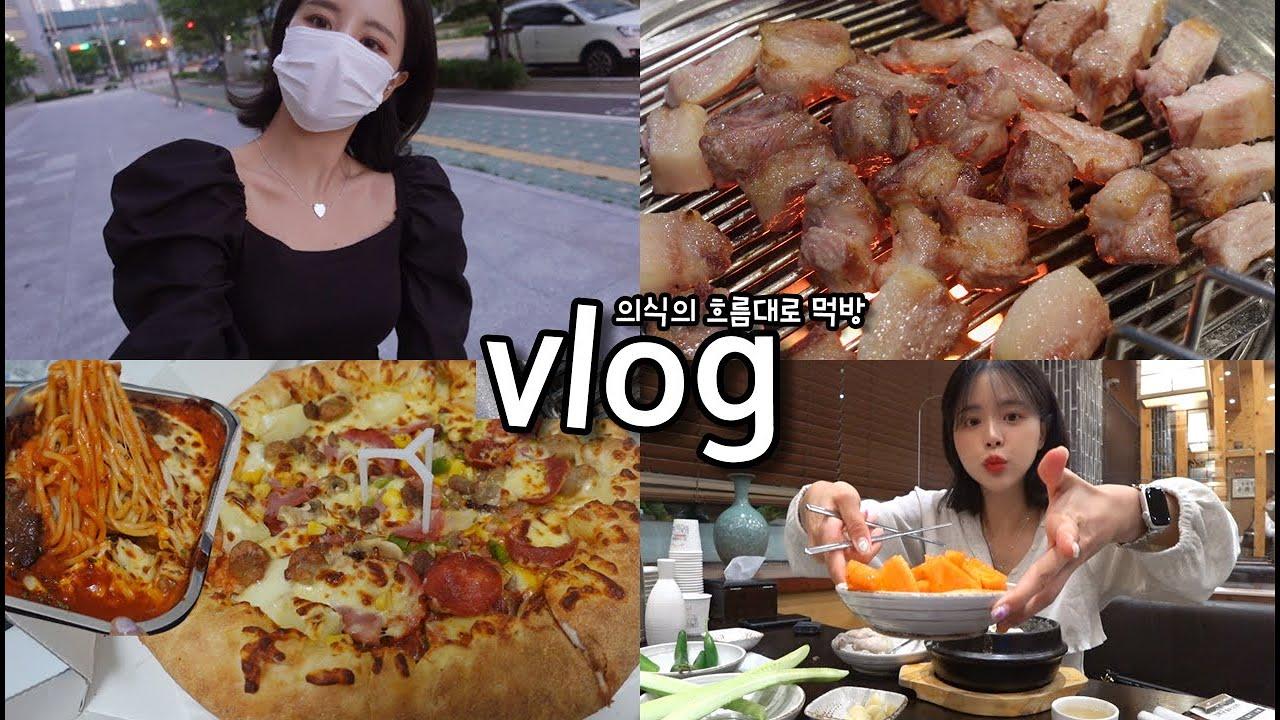 [먹방vlog] 어쩌다보니 맛있는것만 먹었네ㅎㅎㅎㅎ _ 제주 근고기+들깨삼계탕+김치전+막걸리+열무국수+하프앤하프 피자+파스타+동대문