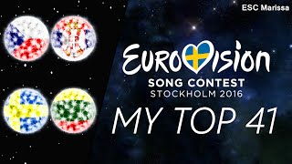 Eurovision 2016 l MY TOP 41 l So far (13/03/16)(Welcome to my Top 41 of Eurovision 2016 so far! :) ▻ Intro song: Oscar Zia - Human (2nd in the Swedish pre-selection - should have won - would have been my ..., 2016-03-13T01:17:43.000Z)