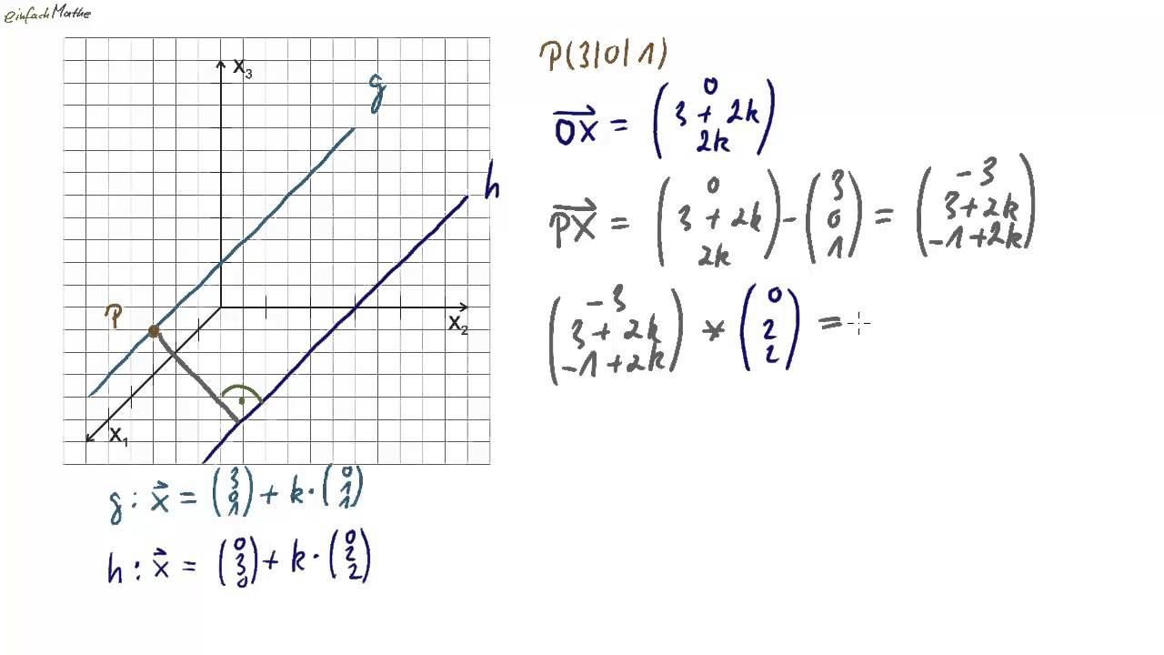 08 Abstand paralleler Geraden im Raum (Analytische Geometrie) - YouTube