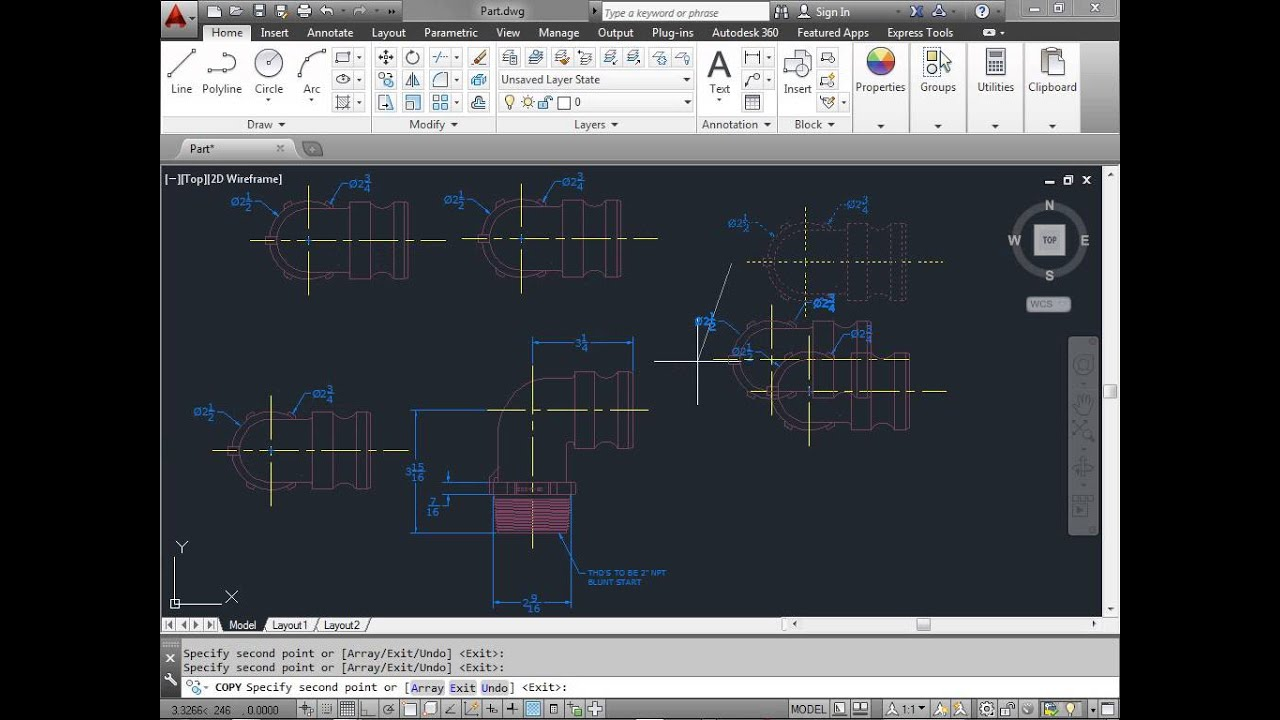 C00505 move copy rotate autocad 2014 tutorial youtube for Copy cad