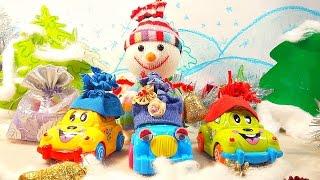 Видео с игрушками. Машинки отгадывают загадки снеговика
