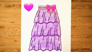 تعليم الرسم||رسم تنورة كيوت خطوة بخطوةHow to draw || How to draw a cute skirt step by step