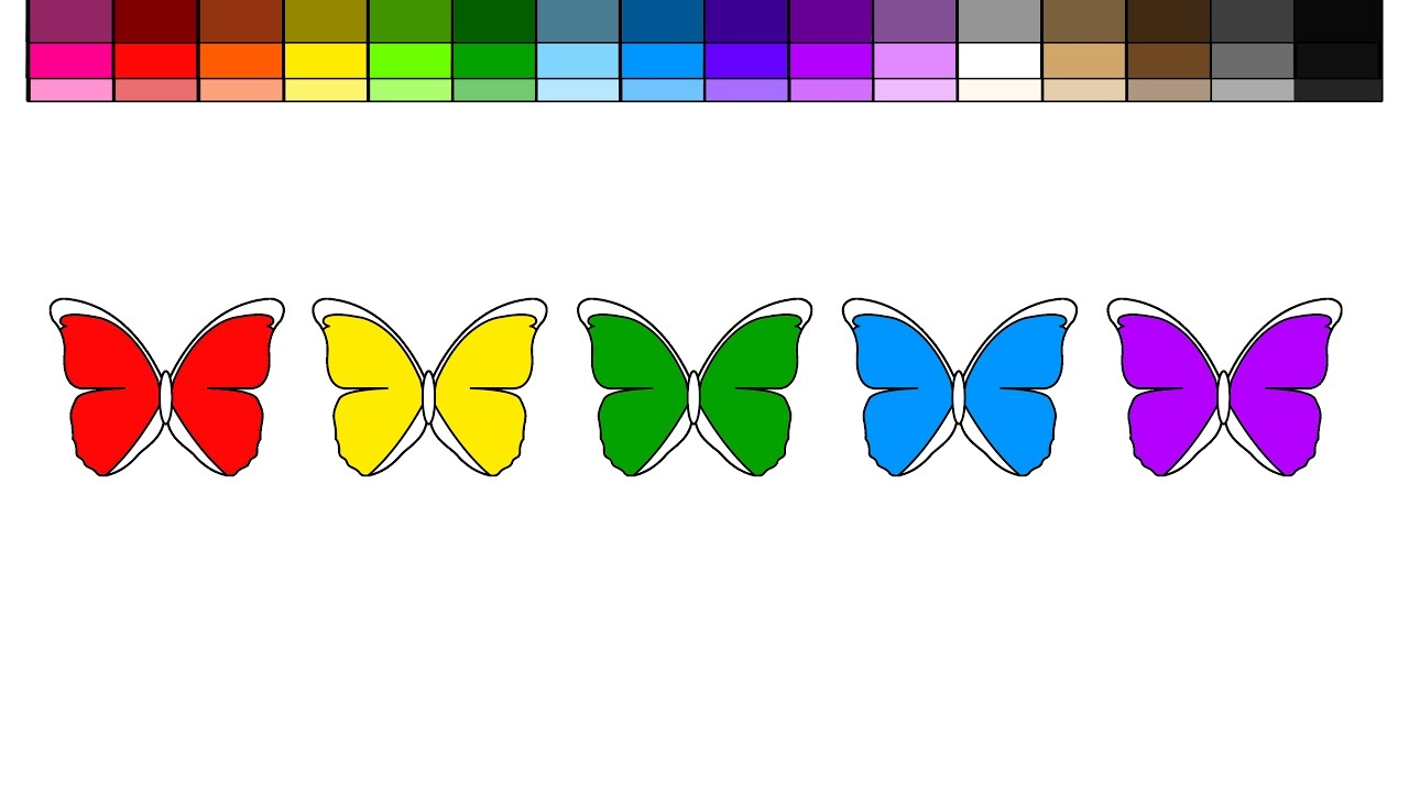 Rainbow butterfly coloring pages - Learn Colors For Kids And Color Rainbow Butterfly Coloring Pages 2