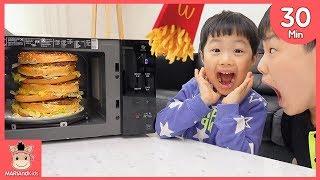 엄청 큰 거대 햄버거 케익 감자튀김 전자레인지 속에서 나왔어요! 욕심 부리면 안되요♡ 30분 인기영상 모음 종합편 어린이 먹방 놀이 kids | 말이야와아이들 MariAndKids
