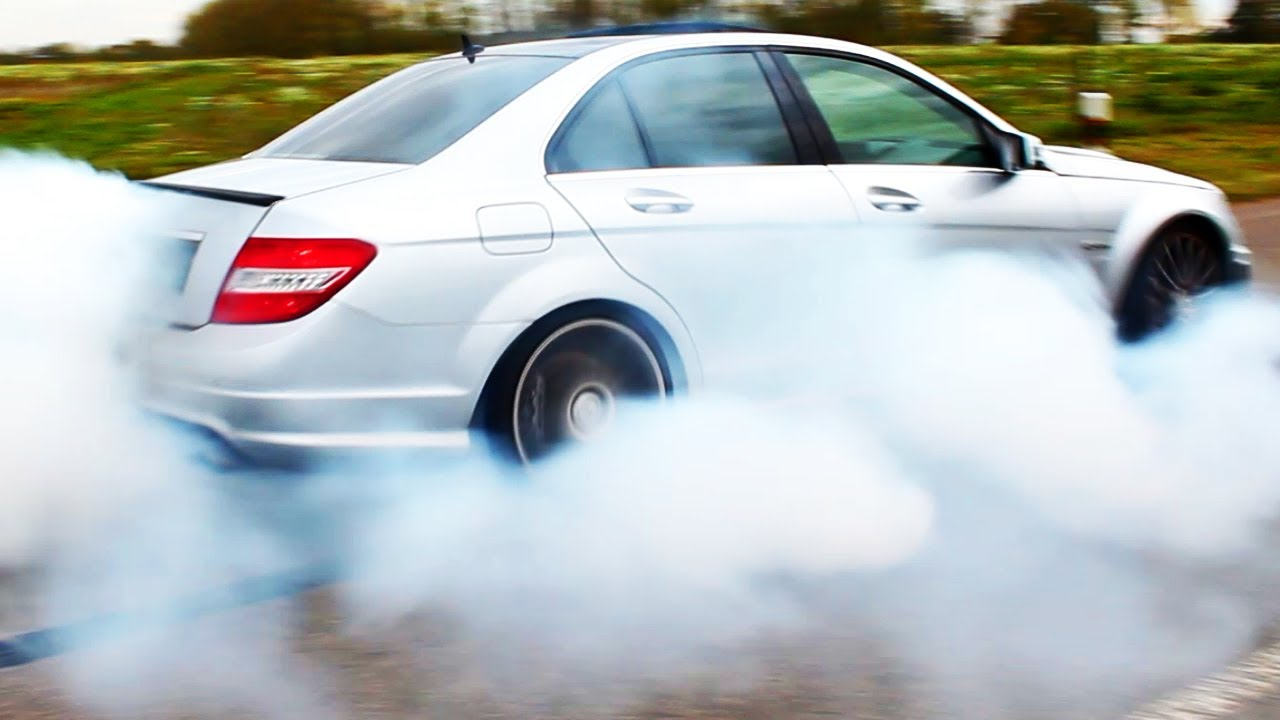 mercedes-c63-amg-burnout-acceleration-tire-smoke-6-2l-v8-exhaust-sound-w204-wheel-spin-benz