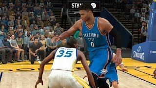 can one giant 7 foot 7 russell westbrook defeat kevin durant and the warriors   nba 2k17 challenge