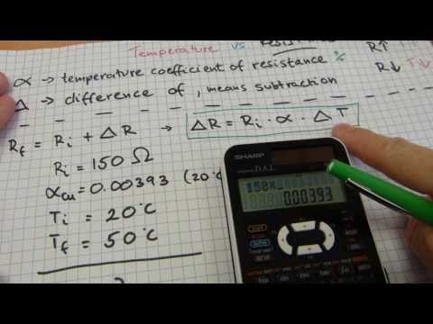 Temperature vs. Electrical Resistance calculations