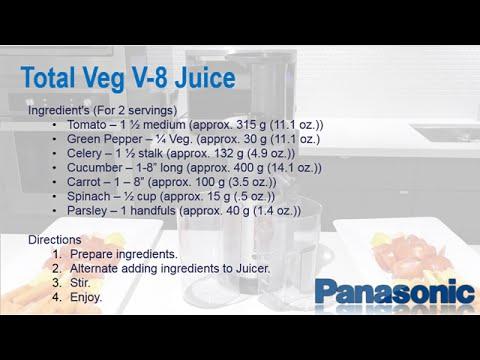 Panasonic Slow Juicer MJ-L500 - Total veg v8 Juice Recipe - YouTube
