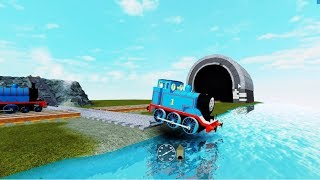 Roblox Thomas and Friends Crashes Thomas down the ramp rail and plunge into the water Thomas train