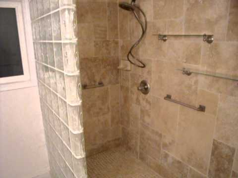 Custom Travertine Shower And Glass Block Wall Avi Youtube