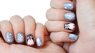 Süßes Pinguin & Schneeflocken Nageldesign by TheBeauty2go