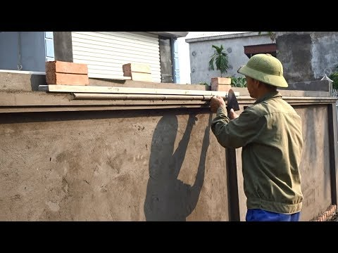 Amazing Construction - Rendering Sand And Cement On Decorative Concrete Wall Using Homemade Tools