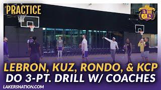 Lakers Shoot Around: LeBron, Kuz, Rondo, & KCP Do 3-Pt. Shooting Drills