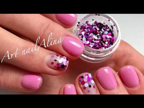 Маникюр на короткие ногти с блестками