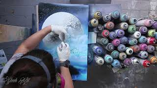 SPRAY PAINT STRUGGLE   City in the clouds   SPRAY PAINT ART by Skech