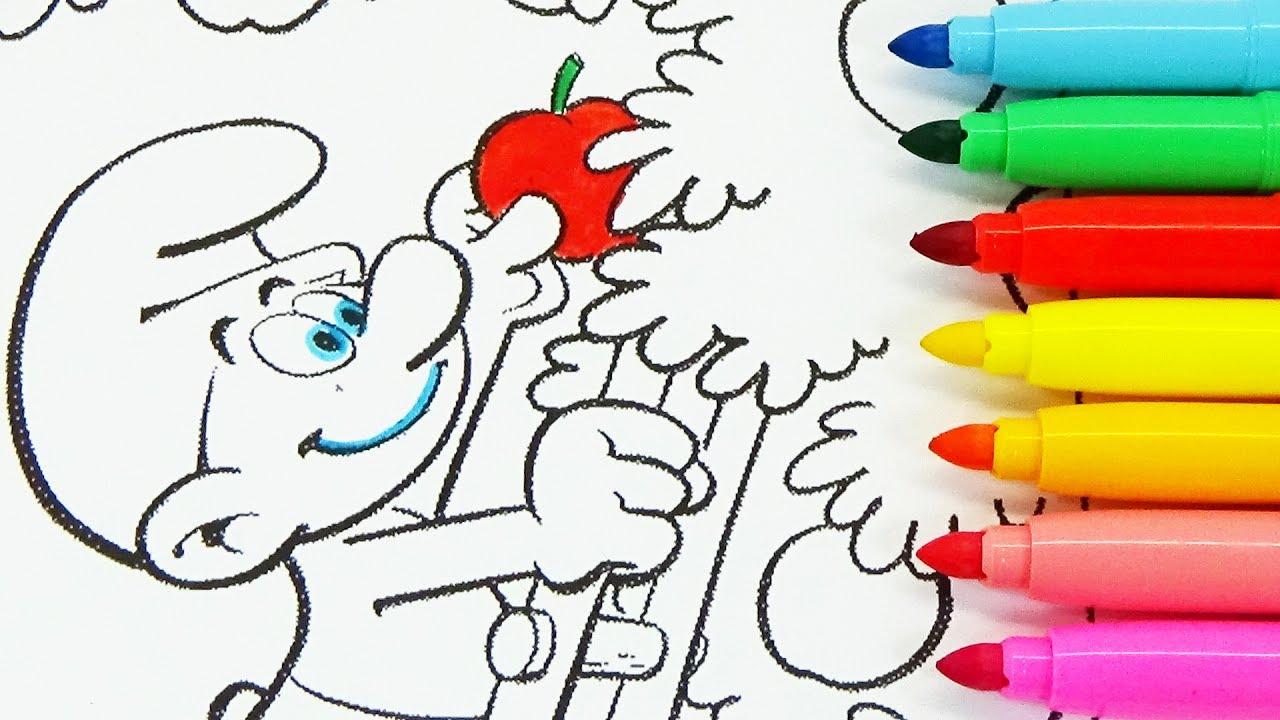 Rotuladores De Colores De Los Pitufos En La Aldea Escondida Para Pintar Y Colorear