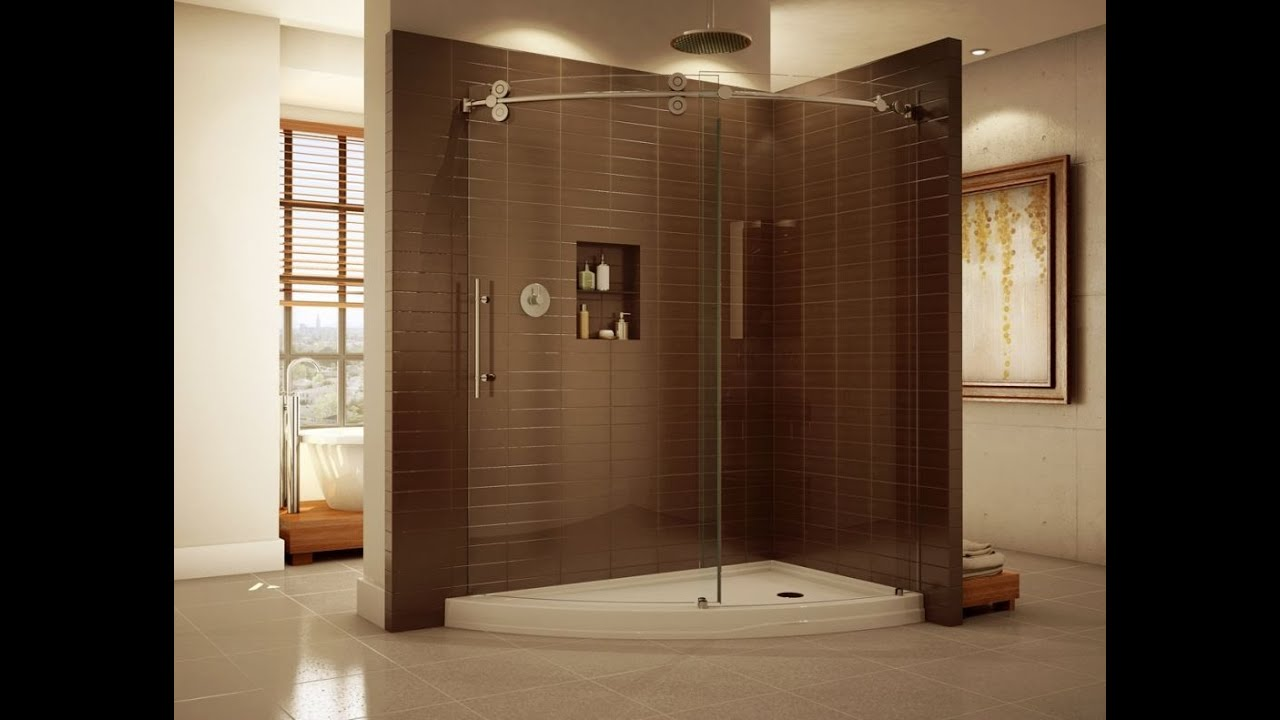 Corner Shower Enclosures Glass with Sliding Doors - YouTube