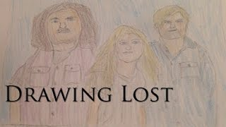 Drawing Hurley, Claire, and Charlie of Lost