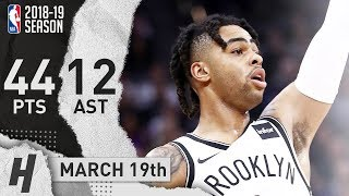 D'Angelo Russell CAREER-HIGH Full Highlights Nets vs Kings 2019.03.19 - 44 Pts, 12 Ast!