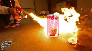 HOME MADE FLAMETHROWER VS COKE CANS