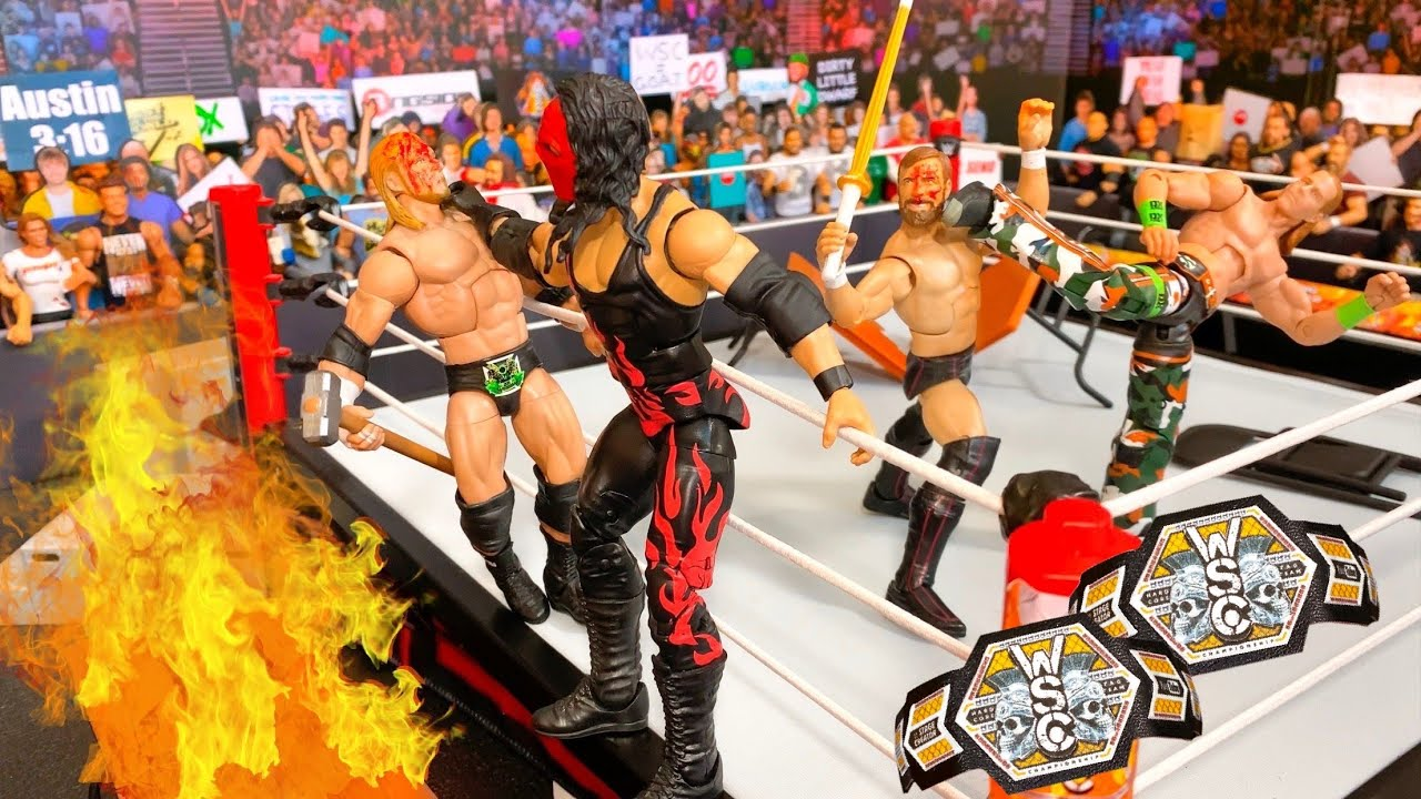D-GENERATION X VS TEAM HELL NO HARDCORE TAG TEAM CHAMPIONSHIP ACTION FIGURE MATCH!
