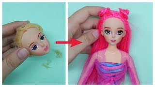DIY BARBIE Transformation; Hairstyles, repaint and MORE!! ~ How to Make Doll Hacks and Crafts
