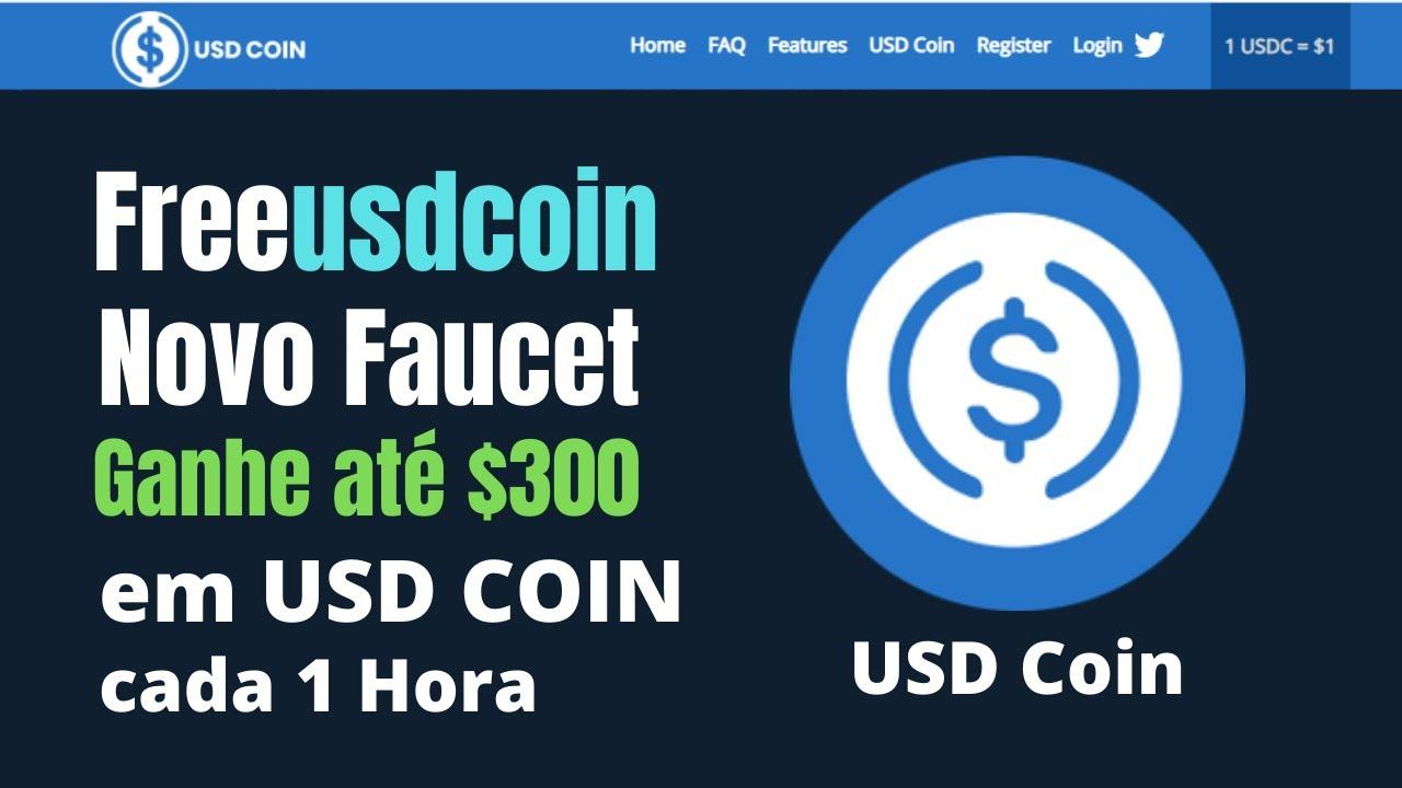 Freeusdcoin Novo Faucet Ganhe até $300 em USD COIN a cada 1 Hora