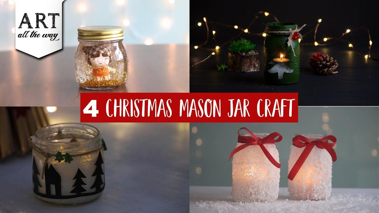4 Christmas Mason Jar Craft Ideas Glass Painting Candle Holder Youtube