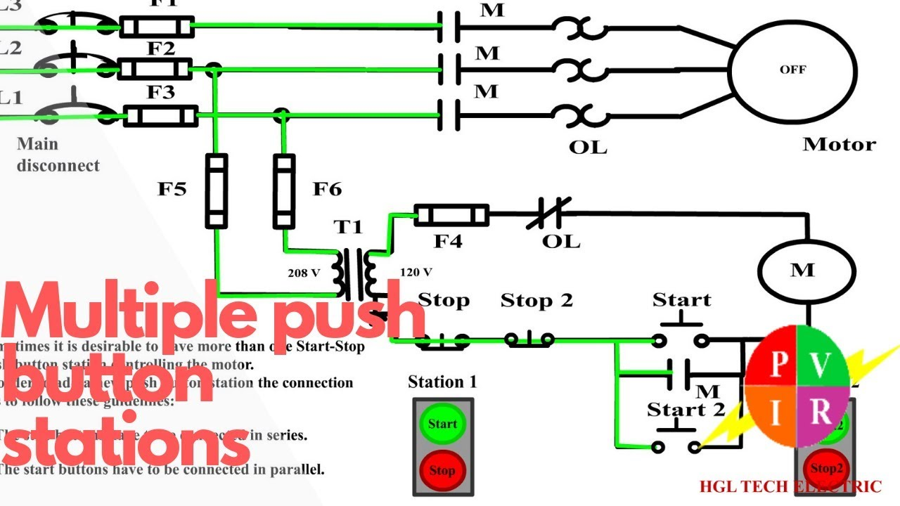 Multiple push button stations Three wire control multiple stations circuit diagram Start stop