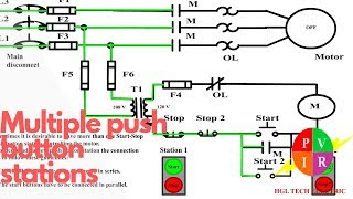 Multiple Push Button Stations Three Wire Control Multiple Stations Circuit Diagram Start Stop Youtube