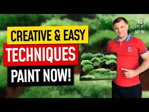Green Story / Day 119 / Landscape Painting For Beginners / Easy Painting Ideas
