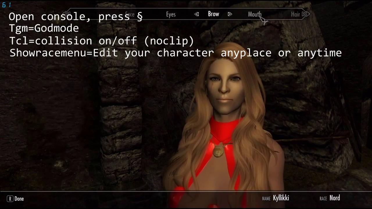 Skyrim console commands! (Godmode, Noclip, Showracemenu & qasmoke) PC