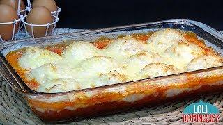 Huevos rellenos de atún al horno con bechamel - Recetas paso a paso, tutorial - Loli Domínguez