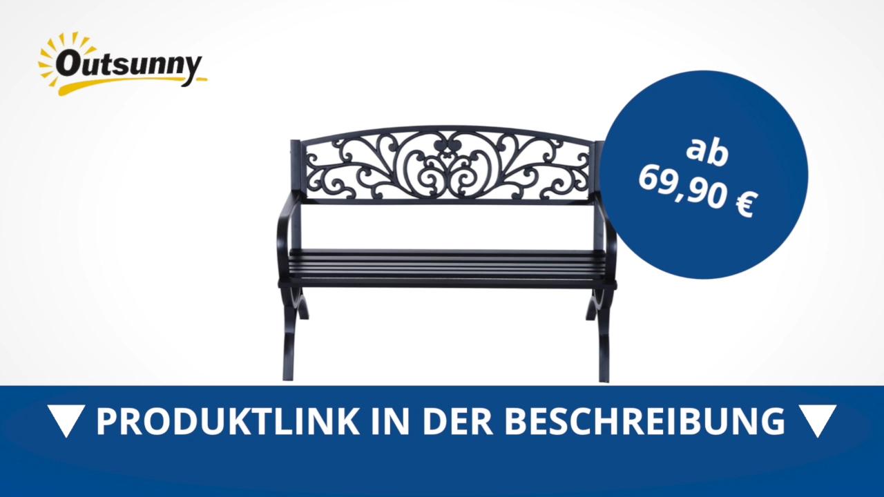Outsunny Gartenbank Sitzbank Gartenmäbel Bank Metall 2 Sitzer Schwarz Direkt Kaufen
