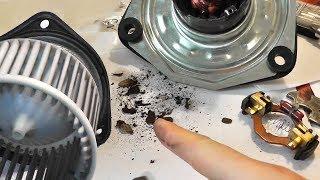Снимаем, разбираем и чистим вентилятор печки салона авто. Устраняем скрип и свист