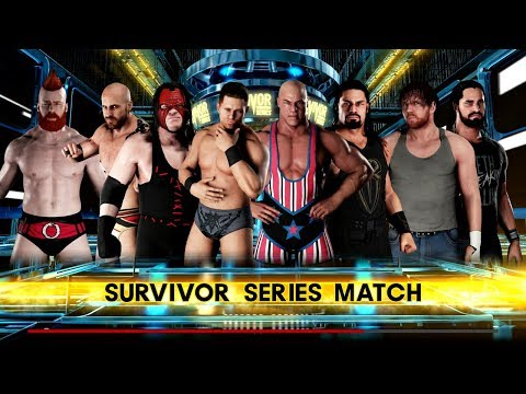 WWE 2K18: Survivor Series 8 Man Elimination - Kurt Angle & The Shield vs The Miz, The Bar & Kane