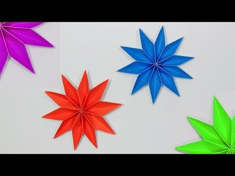 3D Paper Christmas Star Flower For Decoration Ideas - DIY Paper Craft Tutorials - Wall Hanging