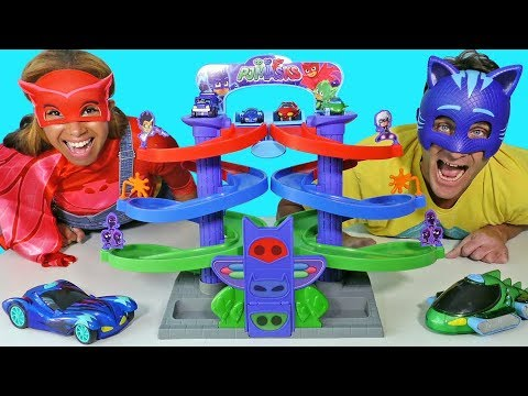 PJ Masks Spiral Playset Race and Toy Challenge!    Disney Toy Review    Konas2002