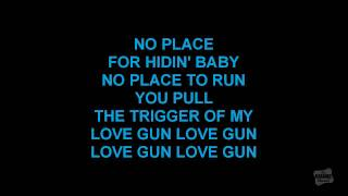 Love Gun in the style of Kiss karaoke video with lyrics