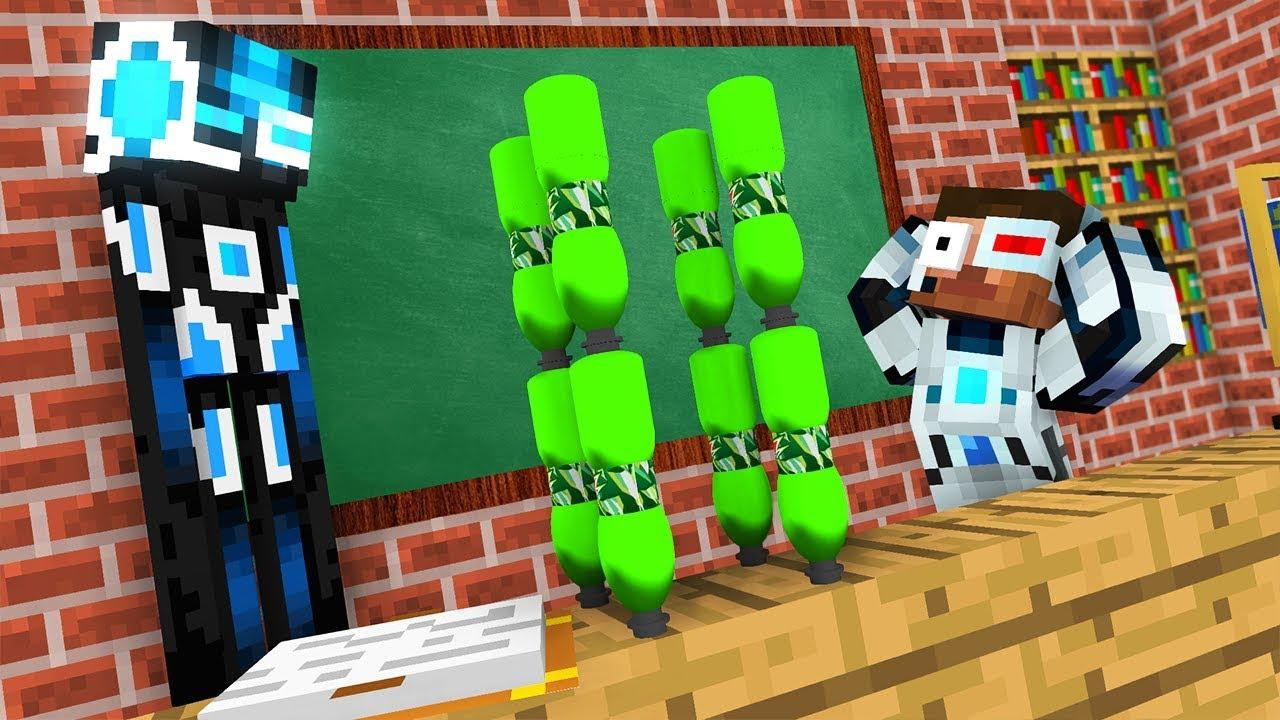 Monster School : ROBOT BOTTLE FLIP Challenge - Minecraft Animation