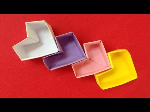How to make a paper heart box   Easy origami heart box for beginners making   DIY-Paper Crafts