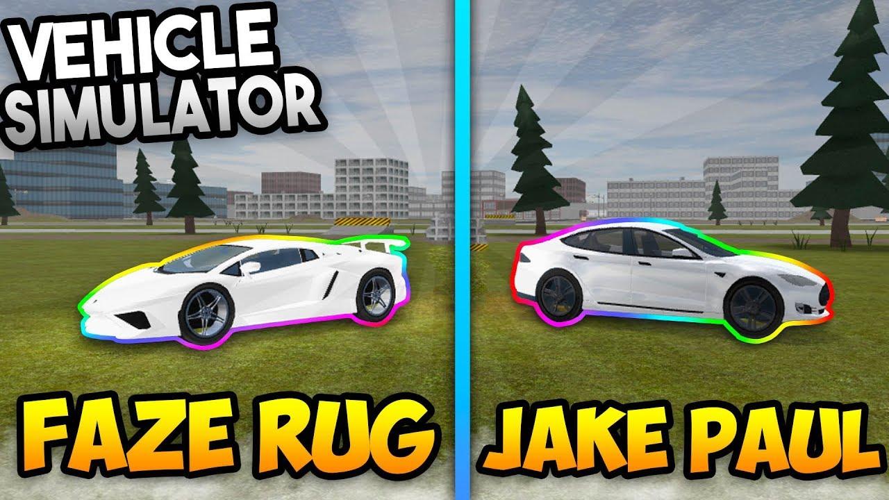 Jake Paul Vs Faze Rug Vehicle Simulator Roblox Youtube