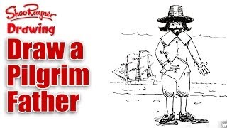 How to draw a Pilgrim Father for Thanksgiving