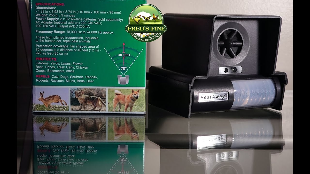 Cat Scarer/repeller, Dog, Raccoon, and Bear Repellent, Pest Away Ultrasonic Repellent and strobe